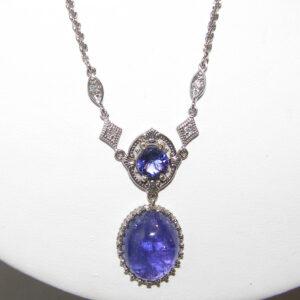 Art Deco Inspired Tanzanite(H)* Diamond Necklace 14KWG 18.01 ctw