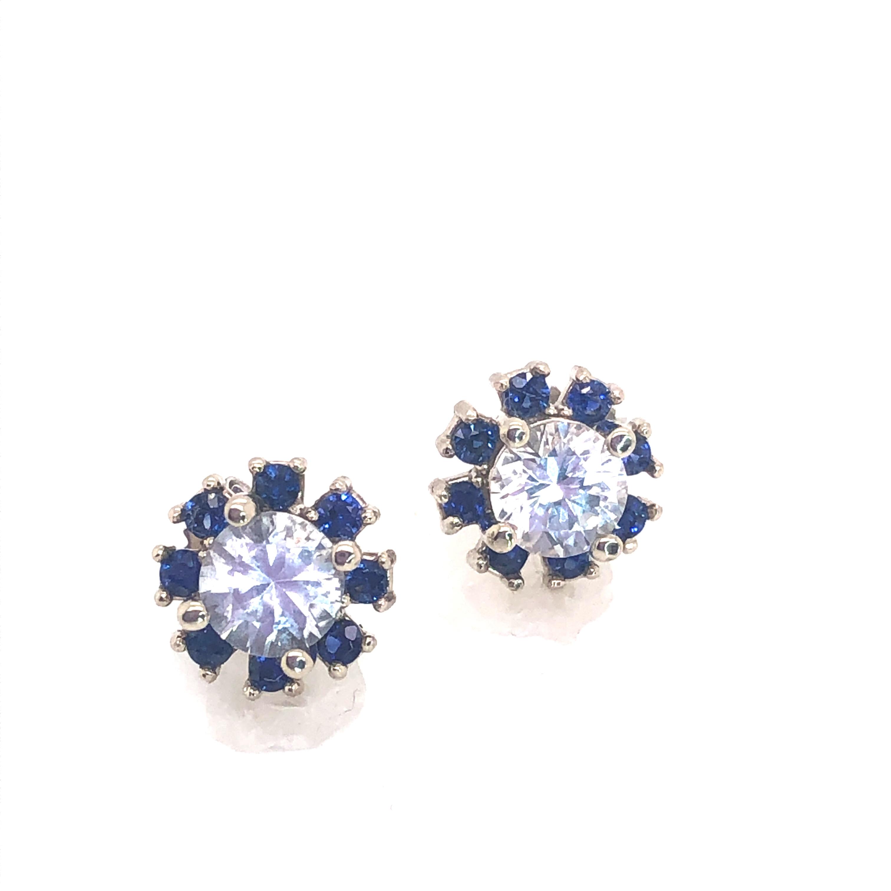 Ceylon White & Blue Sapphire (H)* Studs 14KWG 2.50 ctw