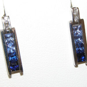 Transitioning Blue Sapphire (H)& Diamond Earrings 14KWG 1.28 ctw