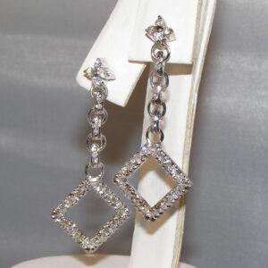 Pave Diamond (N)* Elegant Dangle Earrings 18KWG 1.44 ctw
