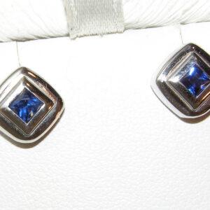 Elegant BezelPrincess TOP Blue Sapphire (H)* Studs 14KWG 0.50ctw