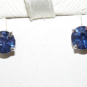 Rich Top Blue Sapphire (H)* Studs 18KWG 2.30 ctw