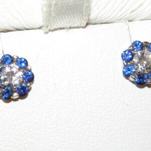 AAA+ Ceylon Sapphire Diamond (N)* Studs 14KWG 1.15 ctw